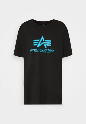 BASIC - Print T-shirt - black/blue