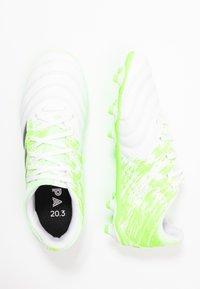 adidas Performance - COPA 20.3 FG - Korki Lanki - footwear white/core black/signal green - 0