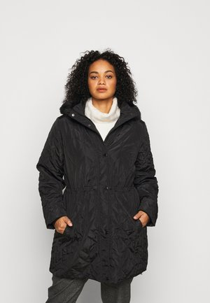 LIGHT QUILTED COAT WITH HOOD - Parka - black