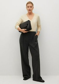 Violeta by Mango - COZY - Trousers - dunkelgrau meliert - 1