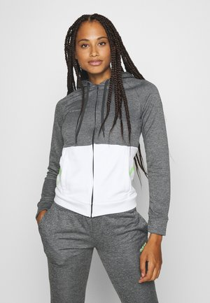 LIN HOOD SET - veste en sweat zippée - dark grey heather/white