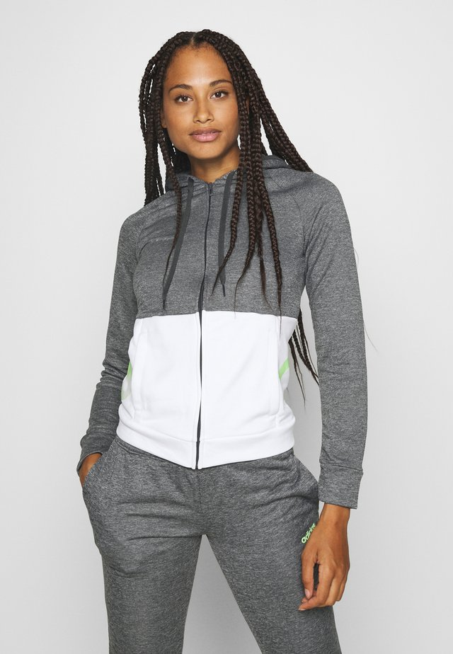 LIN HOOD SET - Sweatjacke - dark grey heather/white