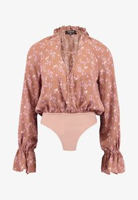 Missguided - PURPOSEFUL FLORAL PLUNGE FRILL SLEEVES BODYSUIT - Blouse - blush - 4
