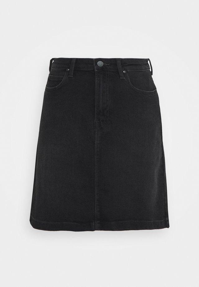 LINE ZIP SKIRT - A-line skirt - captain black