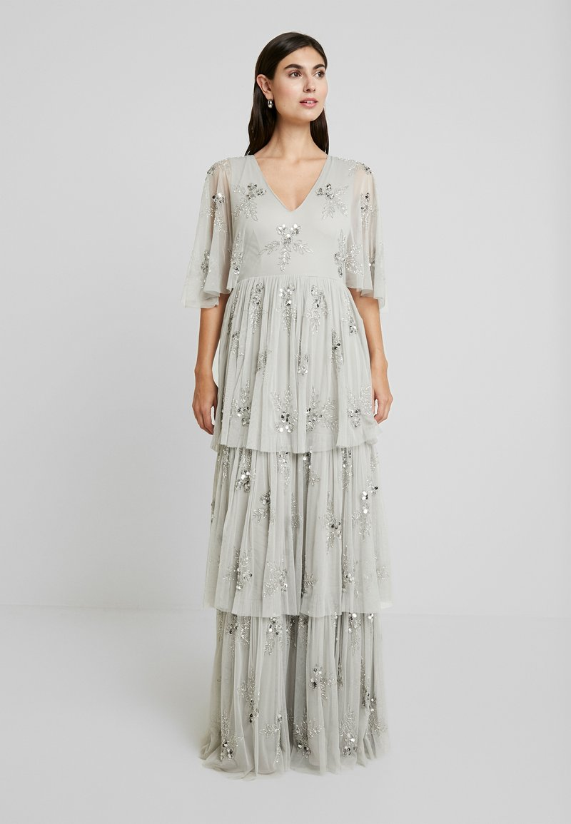 Maya Deluxe - EMBELLISHED SLEEVE TIERED MAXI DRESS - Gallakjole - soft grey