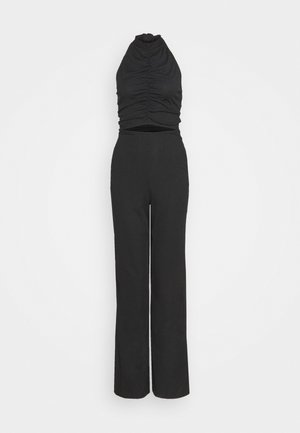 RUCHED HIGH NECK CUT OUT  - Jumpsuit - black