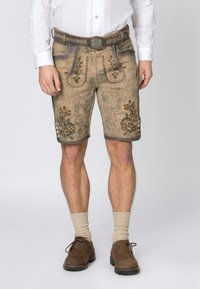 Stockerpoint - WIGGAL - Leather trousers - sand larded/green - 0