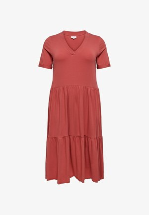 CURVY - Jersey dress - mineral red