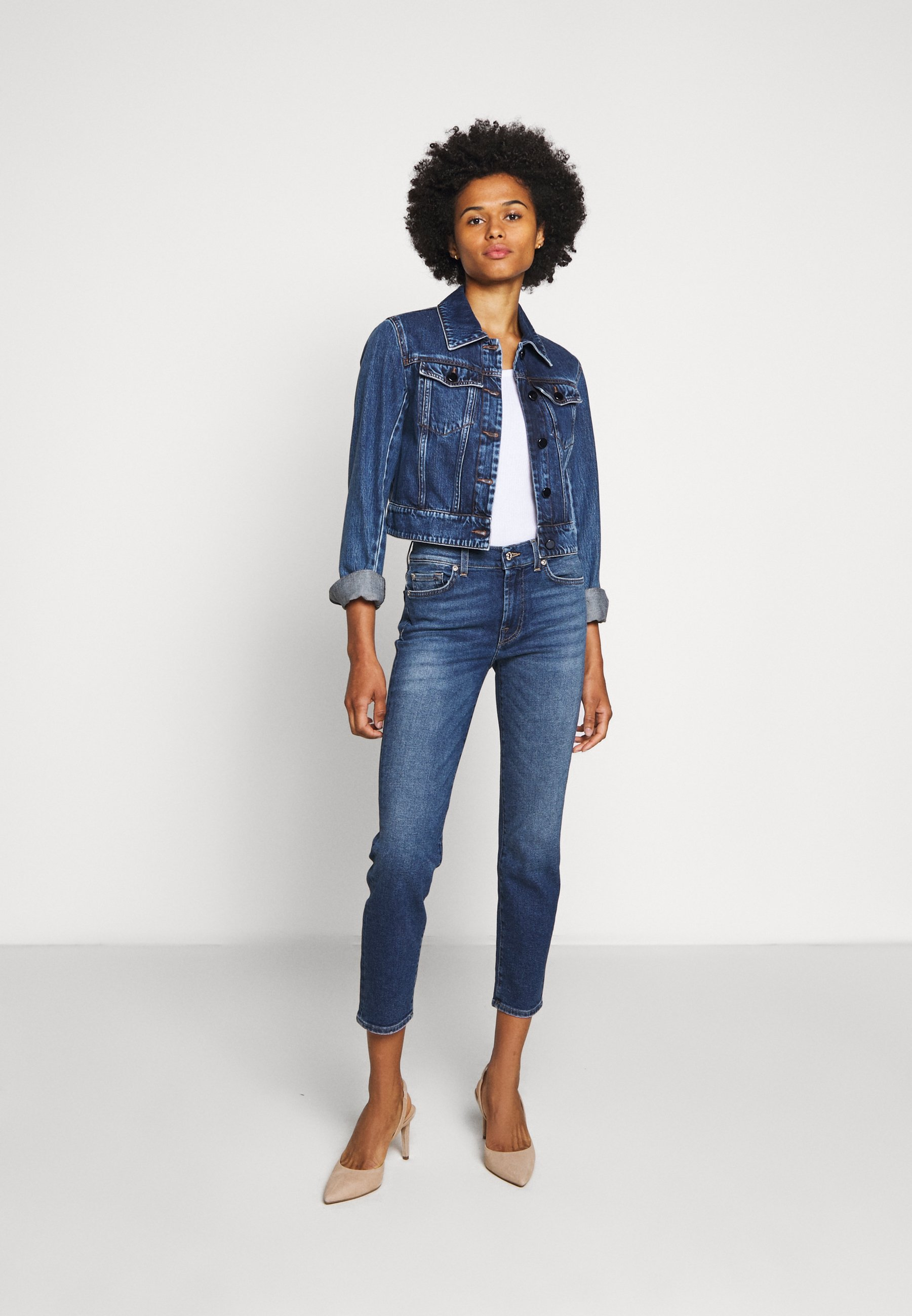 7 for all mankind ROXANNE ANKLE - Jean droit - mid blue