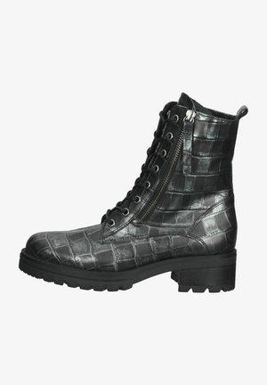 Platform ankle boots - schwarz flausch