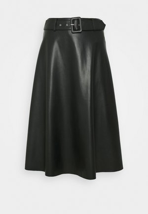 LEDER-OPTIK - A-line skirt - black