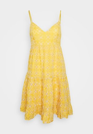 BRODERIE LONG SLEEVED PLUNGE DRESS - Kjole - yellow