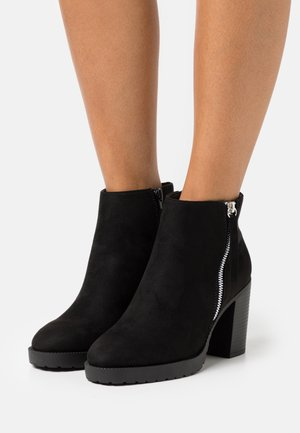WIDE FIT CAR SIDE ZIP CHUNKY - Platform ankle boots - black