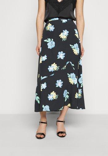 LADIES SKIRT PAINTERLY FLOWER - Áčková sukně - dark blue