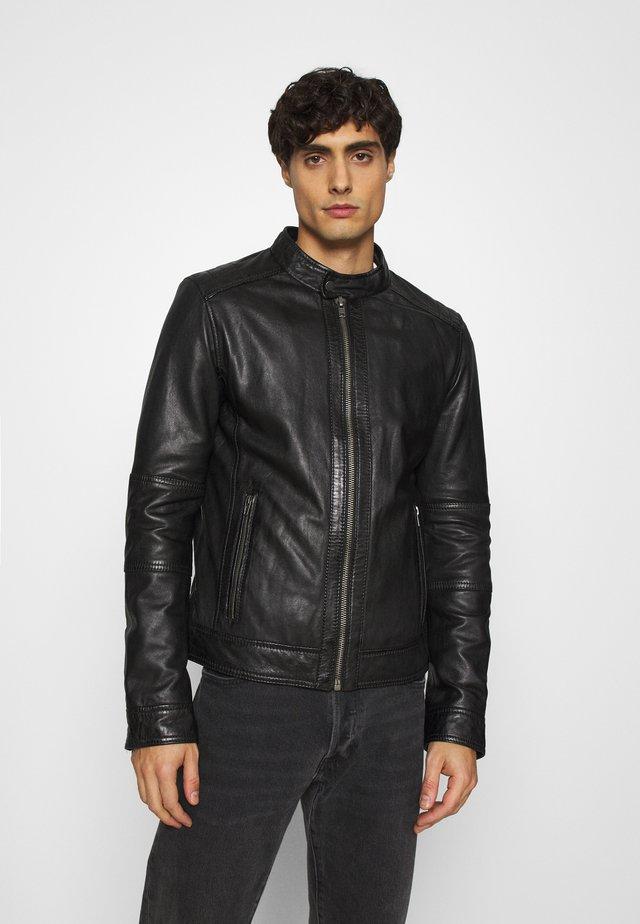 FREDERIC - Veste en cuir - noir