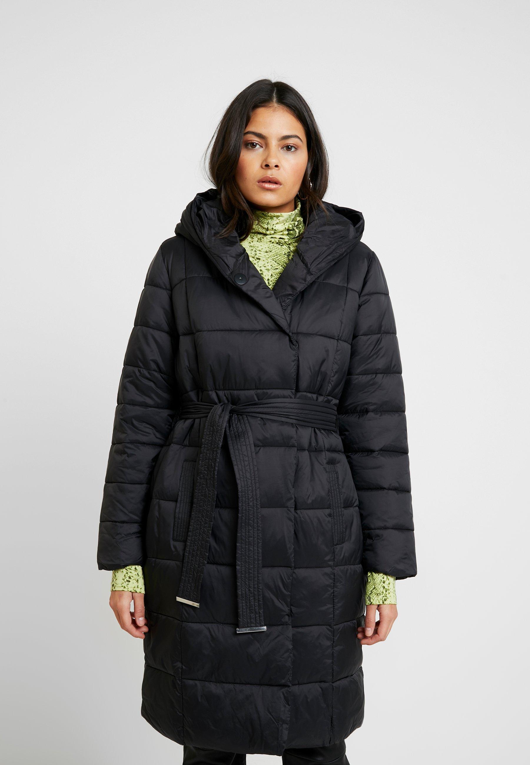 BELTED WRAP PADDED COAT Płaszcz zimowy black