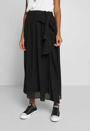 DOUBLE BOW TIE FRONT MIDI SKIRT - A-Linien-Rock - black