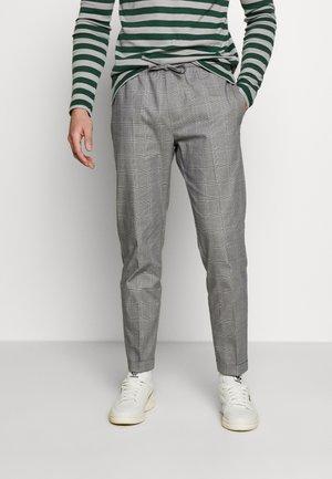 SLIM CHECK FRONT PLEAT ELASTICATED - Kalhoty - grey