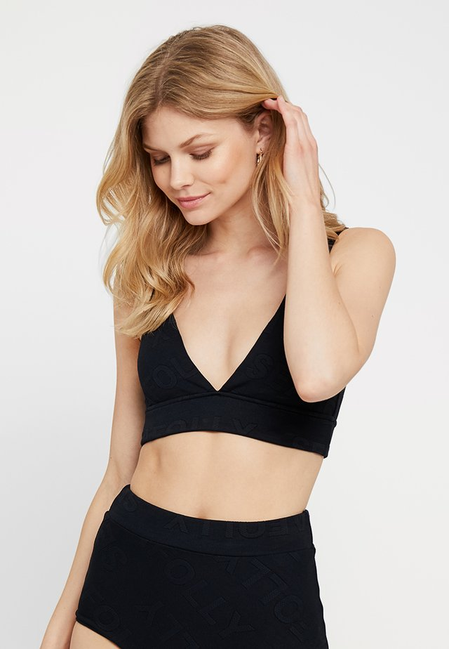 V NECK CROP - Top de bikini - black