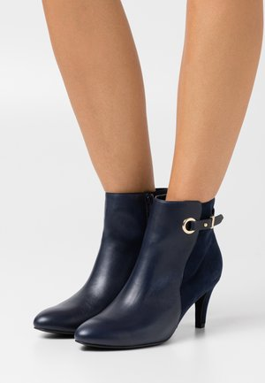LEATHER - Ankle boots - dark blue