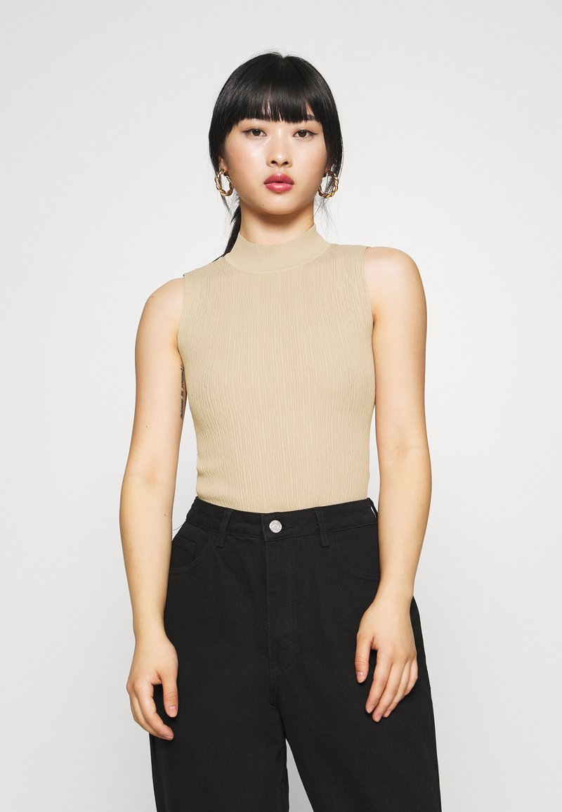 Missguided Petite - TEXTURED CUT OUT BACK BODYSUIT - Top - beige