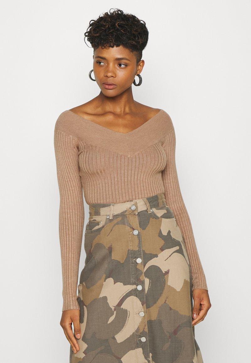 Even&Odd - BARDOT NECKLINE - Pullover - camel