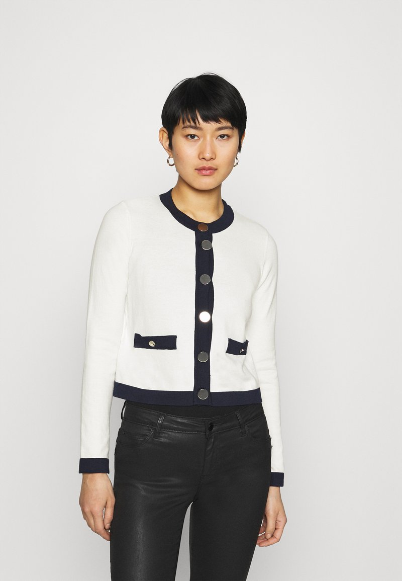 Liu Jo Jeans - MAGLIA APERTA INTARSIO - Cardigan - off-white