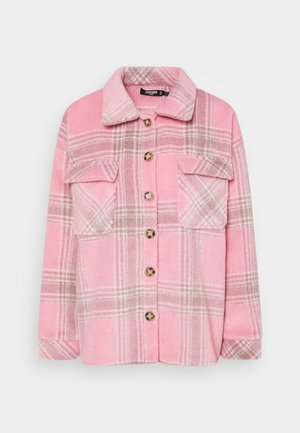 BRUSHED CHECK SHACKET - Button-down blouse - pink