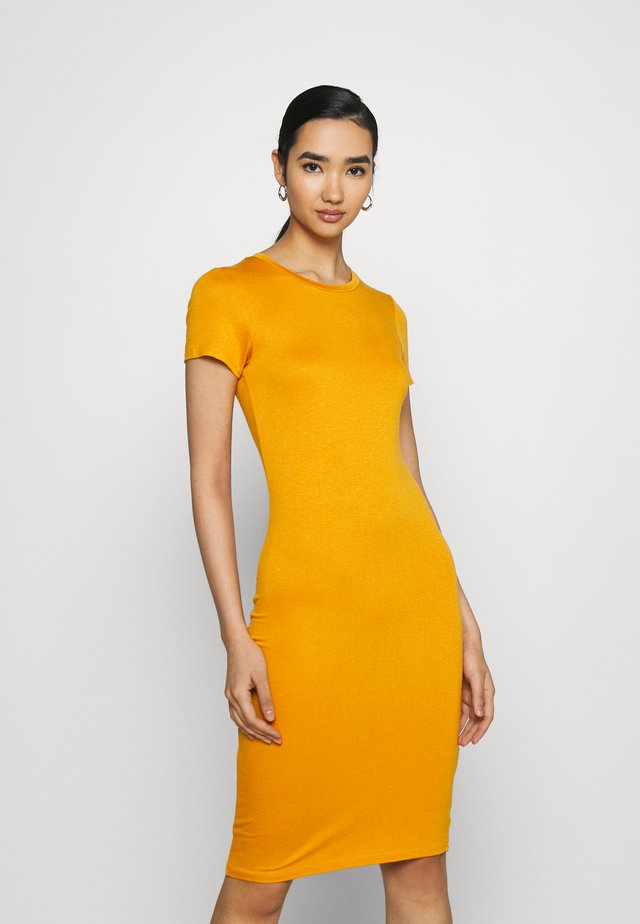 ESSENTIAL SHORT SLEEVE BODYCON MIDI DRESS - Tubino - sunflower yellow