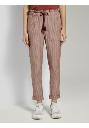 Pantalones - brown white vertical stripe