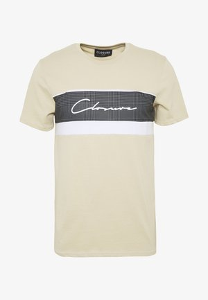 PANELLED TEE - Print T-shirt - stone