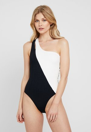 ONE SHOULDER SPLICED MAILLOT - Swimsuit - black/white