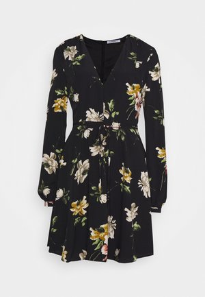 LARGE FLORAL - Day dress - black