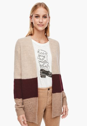 Cardigan - beige/bordeaux stripes