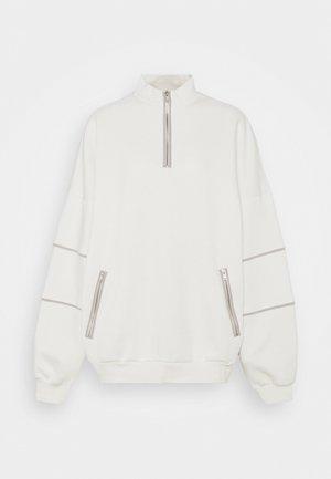 CONTRAST ZIP SWEATER - Sweatshirt - white