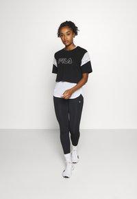 Fila - LOLLE - Print T-shirt - black/light grey melange/bright white - 1