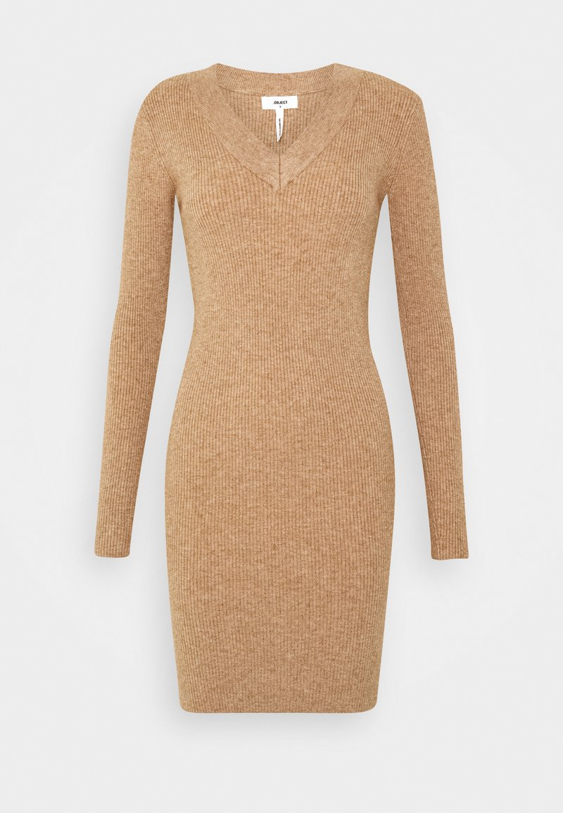 Object - OBJFAE THESS DRESS - Pletené šaty - chipmunk melange