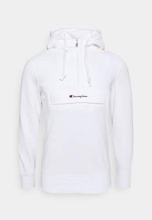 HALF ZIP HOODED - Bluza z kapturem - white