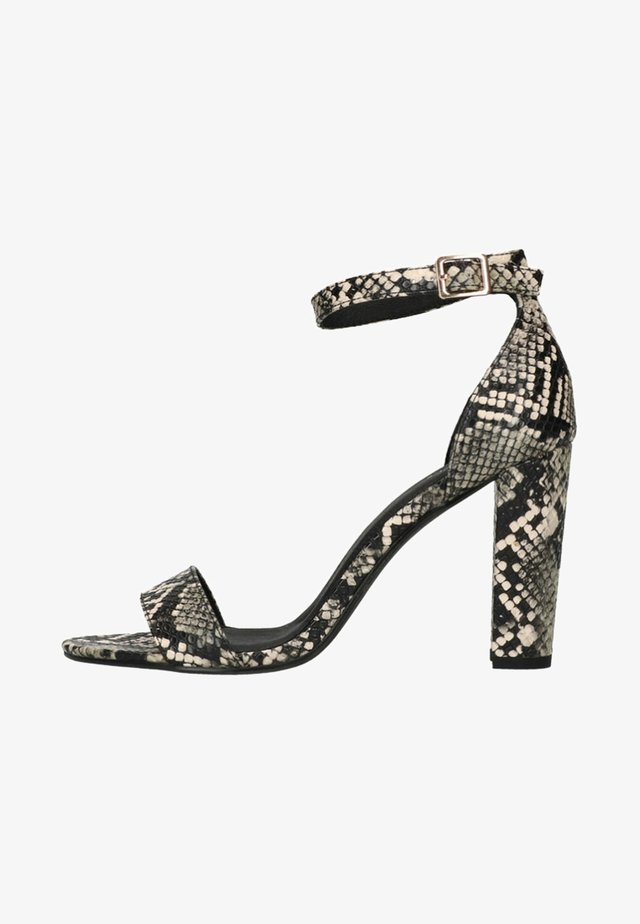 MIT SCHLANGENMUSTER - High heeled sandals - grey