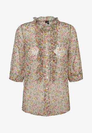 MIT 3/4 ÄRMELN PRINT - Button-down blouse - birch