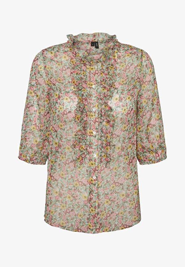 Vero Moda MIT 3/4 ÄRMELN PRINT - Koszula - birch/beżowy QOSB