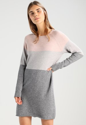 ONLLILLO DRESS  - Abito in maglia - mahogany rose/w melange/light grey