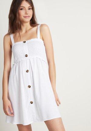 KLEID IN LEINWANDBINDUNG MIT GESMOKTEM OBERTEIL - Day dress - bianco
