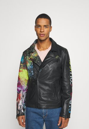 JACKET WITH PRINT PERFECTO - Leather jacket - black