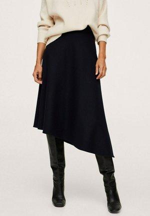 ASYMMETRIC WOOL - Pleated skirt - dark navy