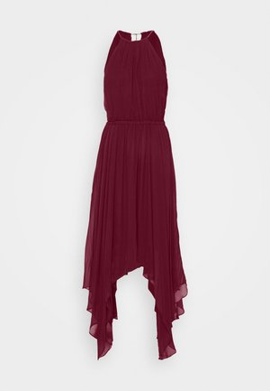PLEATED HALTER - Maxikjole - dark ruby
