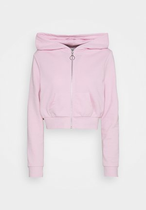 Cropped Zip Up Sweat Jacket - Mikina na zip - light pink