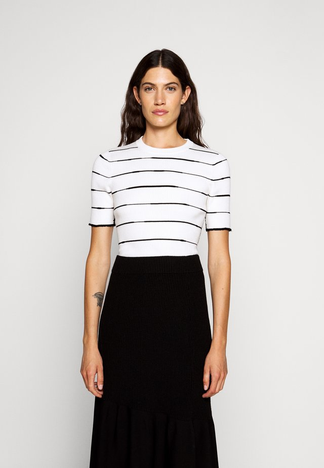 STRIPED - T-Shirt print - white/black