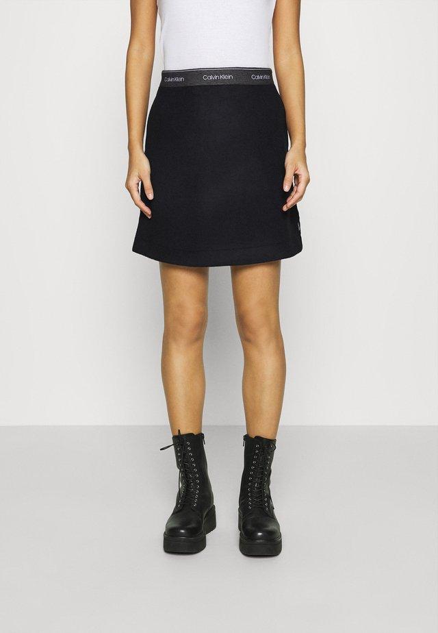 DOUBLE FACE SKIRT - Mini skirt - black
