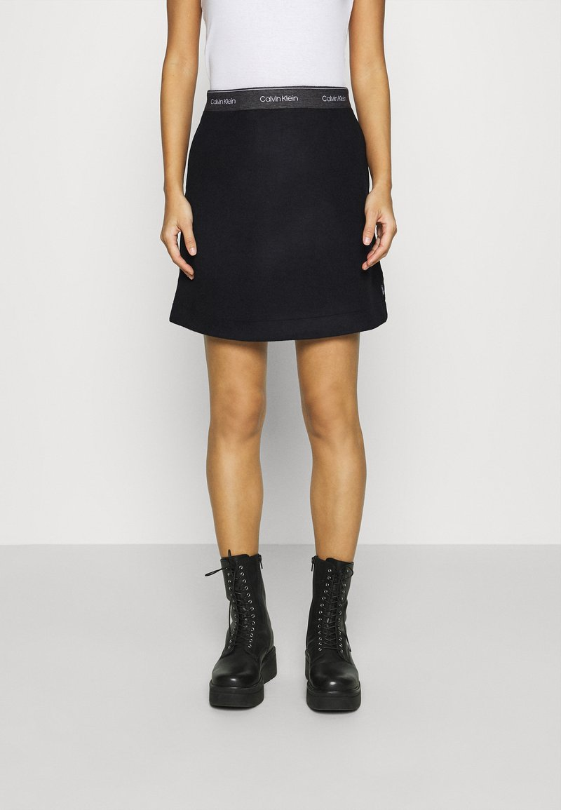 Calvin Klein - DOUBLE FACE SKIRT - Mini skirt - black
